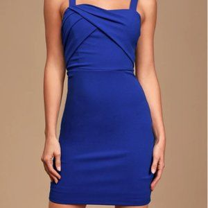 LULU'S Sweetest Moments Blue Ruched Bodycon Dress